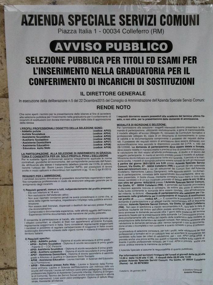 Avviso pubblico ASSC