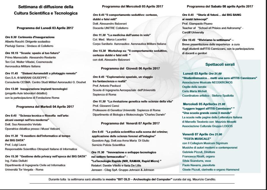 Programma Settimana di diffusione della Cultura Scientifica e Tecnologica'