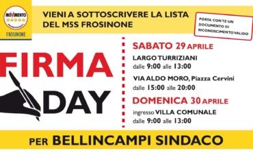 Elezioni a Frosinone: 29 e 30 aprile raccolta firme del M5S per Bellincampi Sindaco