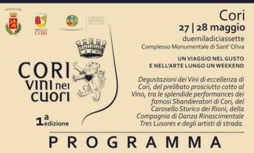 """Cori, 27 e 28 Maggio arriva la prima edizione di """"Cori, Vini nei Cuori"""": ecco il programma"""