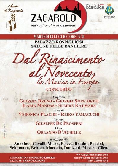 zagarolo Dal Rinascimento al Novecento, la musica in Europa