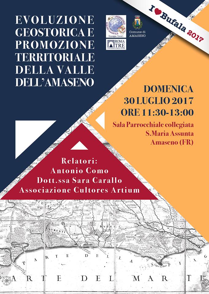 Evoluzione geostorica e promozione territoriale della valle dell'Amaseno: convegno il 30 luglio 2017