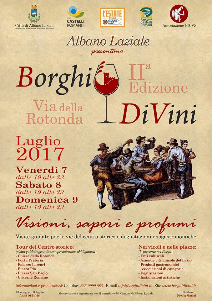 Borghi DiVini 2017, Albano Laziale ospita la seconda edizione dal 9 al 9 luglio: il programma