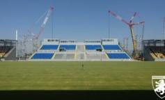 Frosinone, lavori stadio Benito Stirpe: installate le travi sui pilastri per la copertura