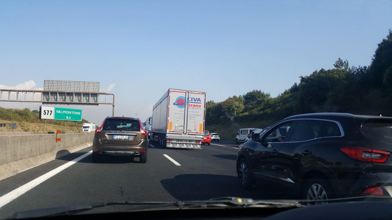 Autostrada A1 incidente 16 luglio 2019 Roma Sud Valmontone