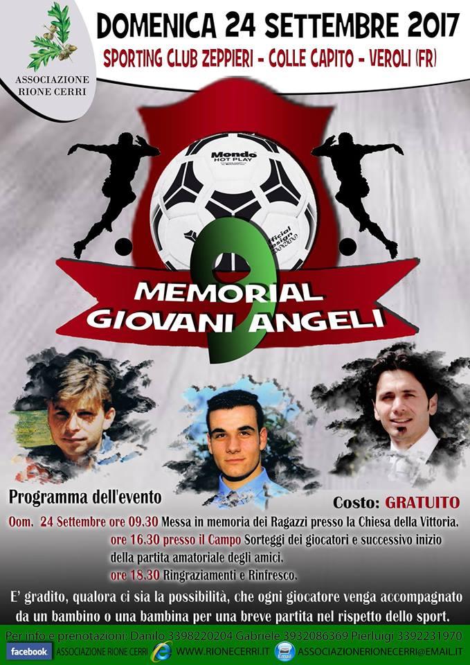 Veroli, domenica 24 settembre il Memorial Giovani Angeli