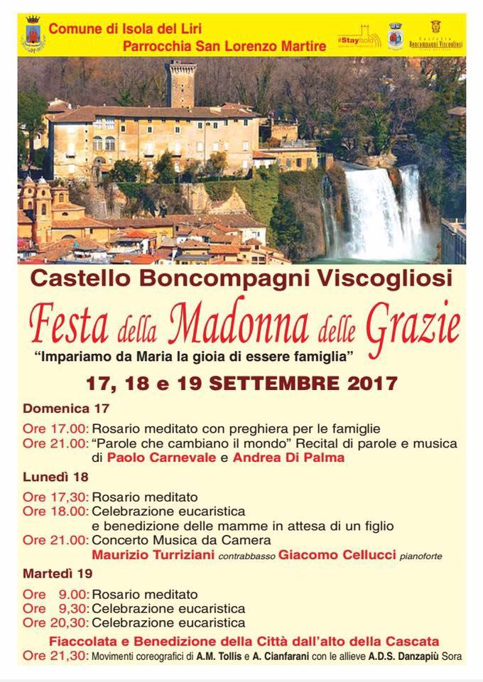 Isola del Liri, festa della Madonna delle Grazie al Castello Boncompagni/Viscogliosi settembre 2017