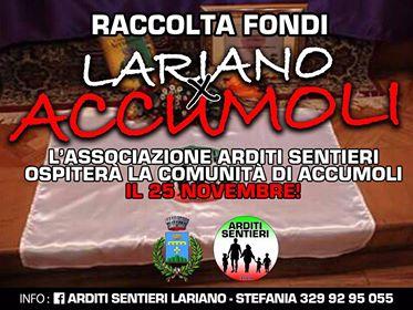 Lariano, il 25 Novembre raccolta fondi per le vittime del terremoto di Accumoli