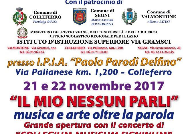 """""""Il mio nessun parli"""": due giorni di arte e intrattenimento all'IPIA di Colleferro il 21 e 22 novembre 2017"""