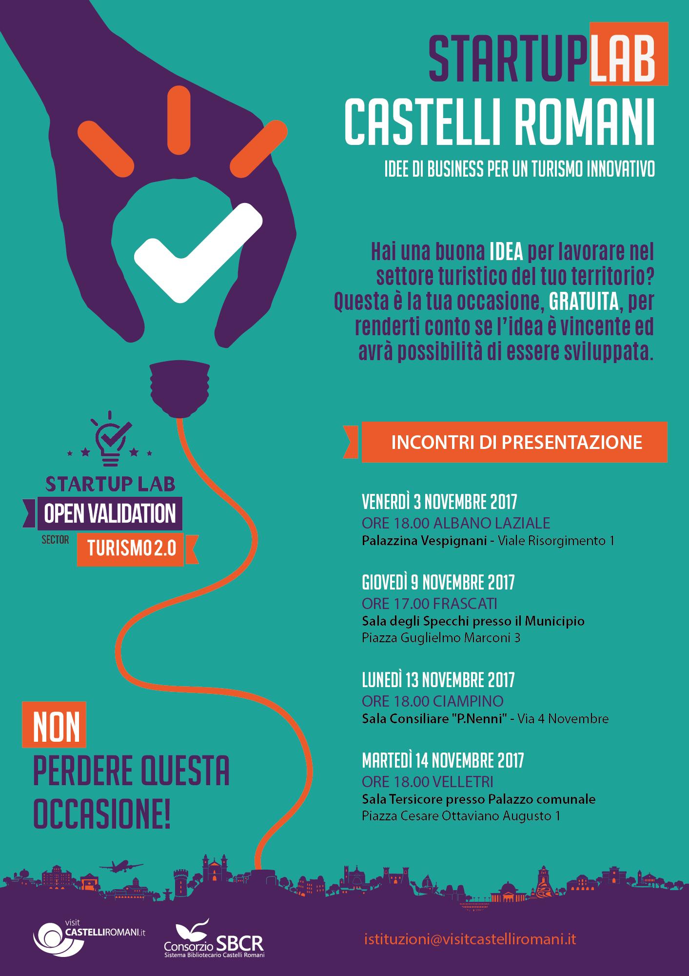 StartUp Lab Ciampino Velletri 13 e 14 novembre