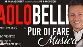 """Colleferro, Paolo Belli torna in teatro con """"Pur di fare Musica"""" il 21 gennaio 2018"""