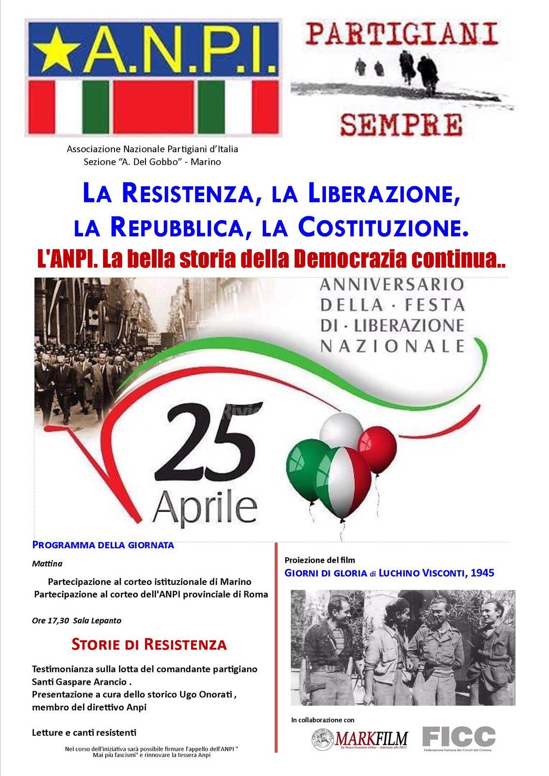 Marino, l'Api festeggia la liberazione con la testimonianza del comandante Arancio