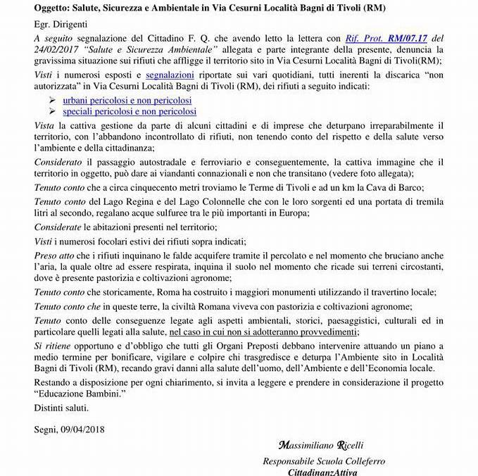 Bagni di Tivoli, rifiuti in via Cesurni: gli organi preposti devono intervenire con urgenza