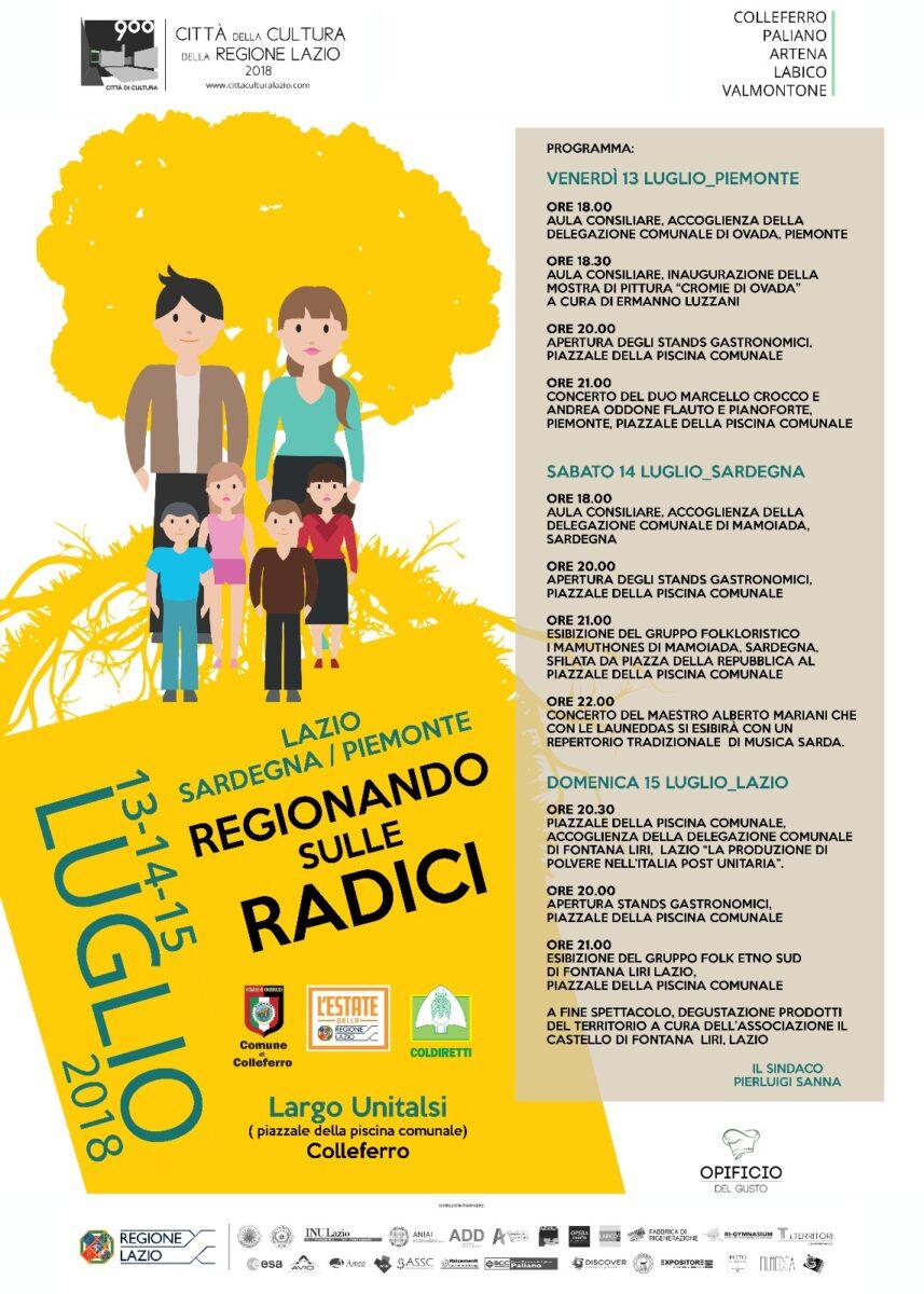 """Colleferro, terza edizione di""""Regionando sulle radici"""": dal 13 al 15 luglio 2018"""