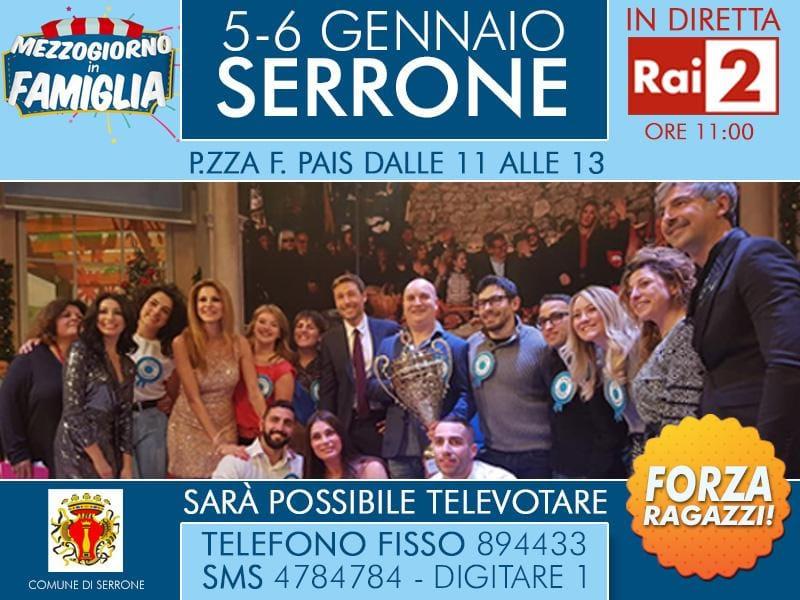 Serrone su Rai 2 a Mezzogiorno in famiglia: weekend di sfida in tv per la città ciociara