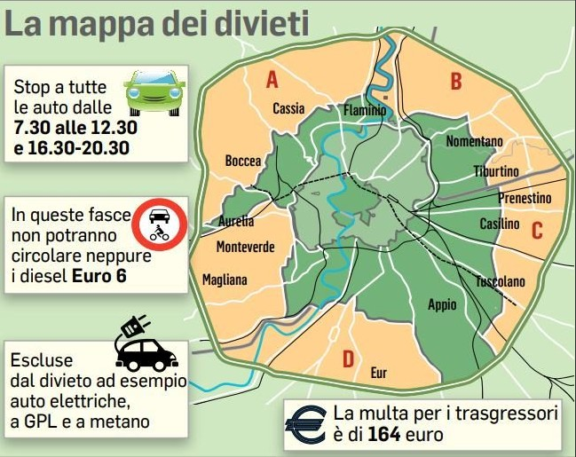 Cartina Dettagliata Fascia Verde Roma.Roma Domenica Ecologica Il 10 Febbraio 2019 Orari E Fasce Verdi