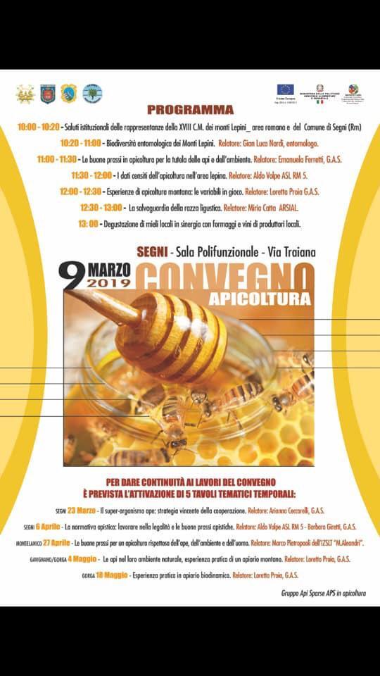 Segni, convegno Apicoltura 9 marzo 2019: il programma