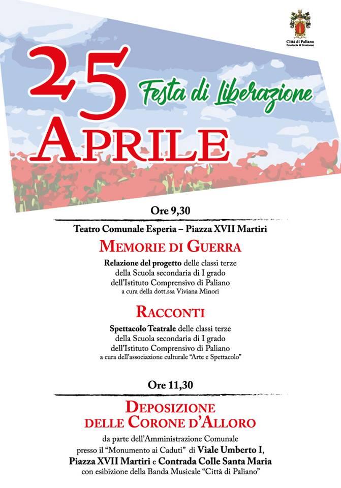 Paliano si prepara a festeggiare il 25 aprile con gli studenti dell'Istituto Comprensivo