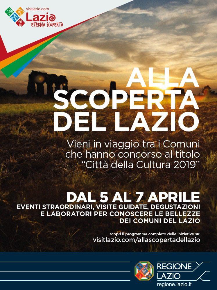 Lazio, alla scoperta dei Comuni che hanno concorso al titolo 'Città della cultura del Lazio 2019': il programma dal 5 al 7 aprile