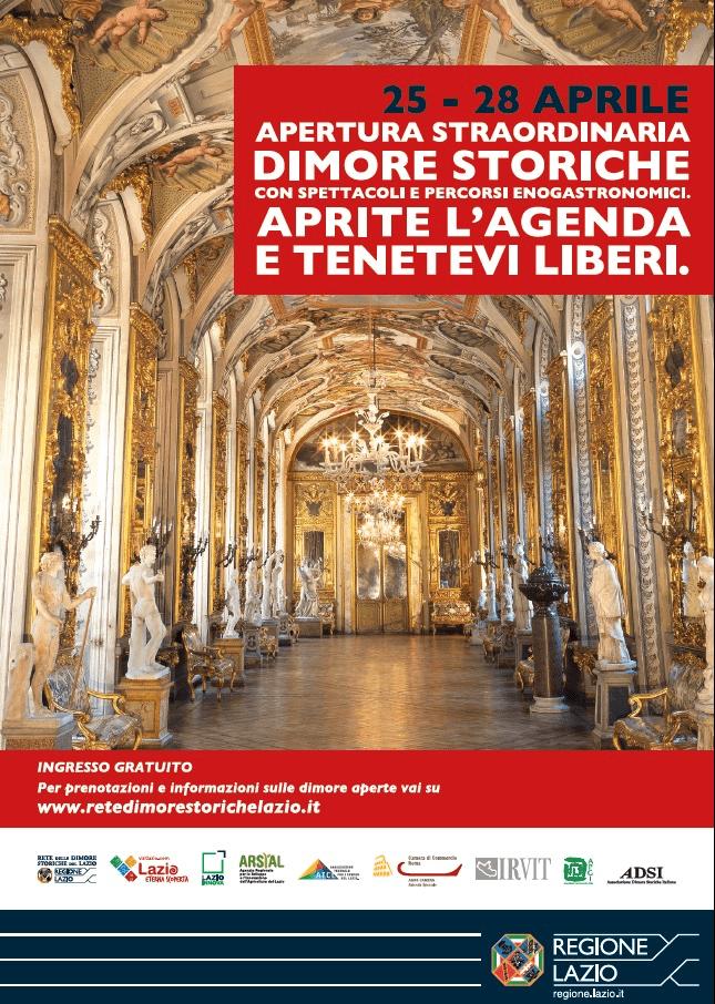 Lazio, apertura straordinaria dimore storiche: dal 25 al 28 aprile 2019. Evento gratuito con spettacoli e percorsi enogastronomici (FOTO)