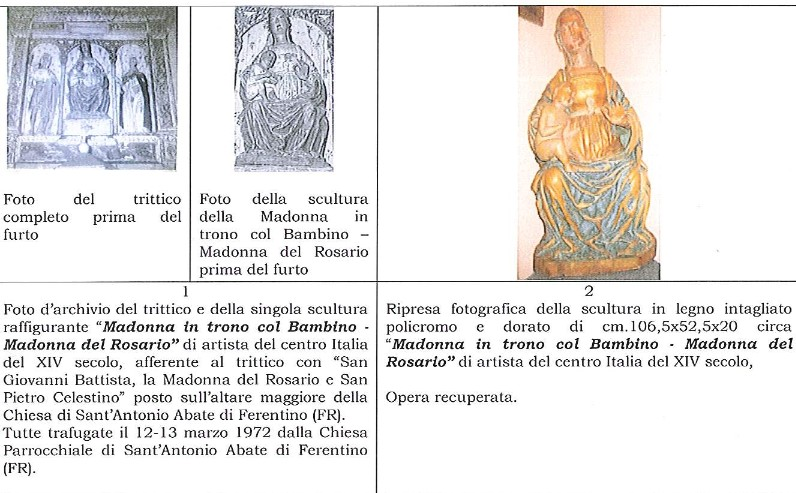 Ferentino, recuperata dopo quasi 50 anni la statua della Madonna del Rosario in trono con Bambino