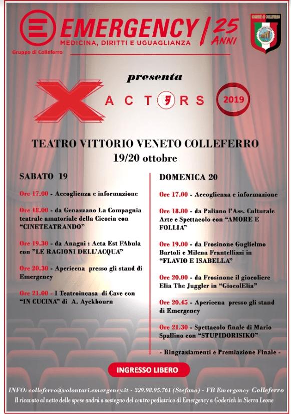 Il Gruppo Emergency Colleferro presenta X ACTORS 2019: la rassegna teatrale si svolgerà il 19 e il 20 ottobre