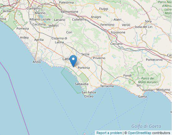 Pontinia scossa terremoto lunedì 21 ottobre 2019