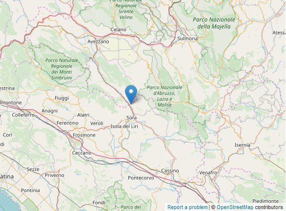 Pescosolido scossa di terremoto di magnitudo 2.1 oggi 21 novembre 2019