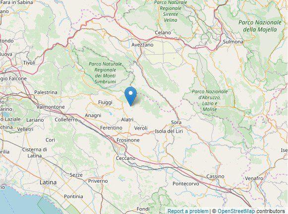 scossa di terremoto a Vico nel Lazio oggi martedì 12 novembre 2019