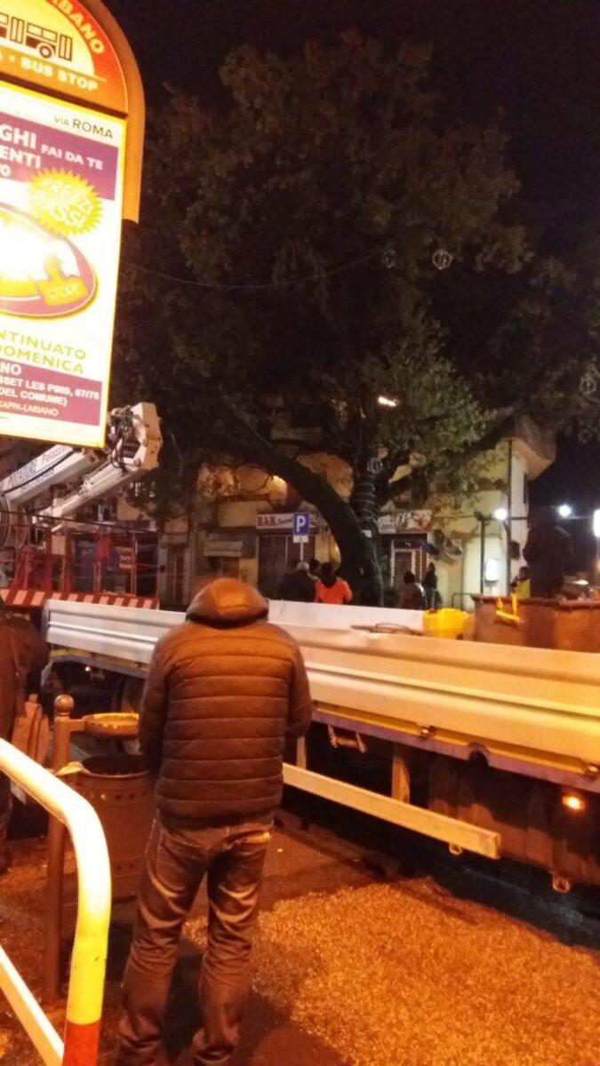 Lariano, piazza Sant'Eurosia. Caduta la quercia simbolo della città,