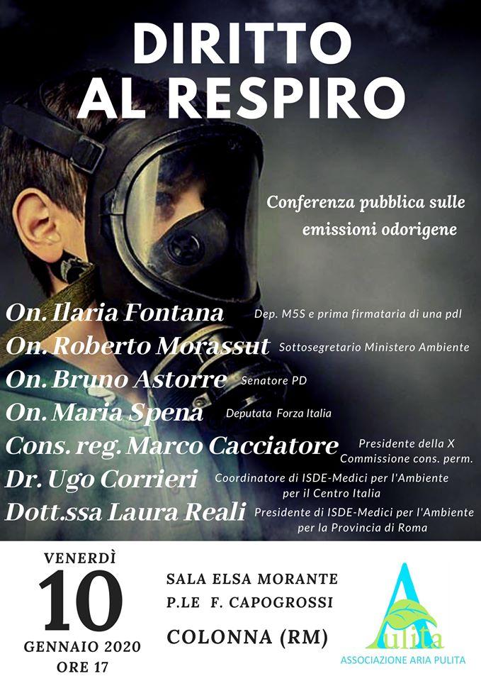 """Colonna, conferenza sulle emissioni odorigene. L'associazione AAP chiede """"Diritto al Respiro"""": una legge per tutelare la qualità dell'aria"""