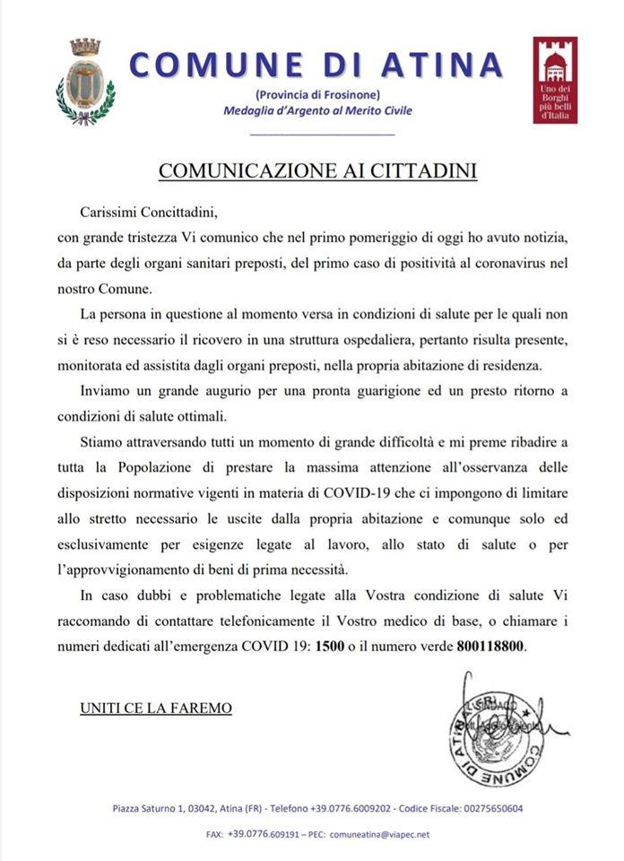 Coronavirus primo caso positivo Atina sindaco