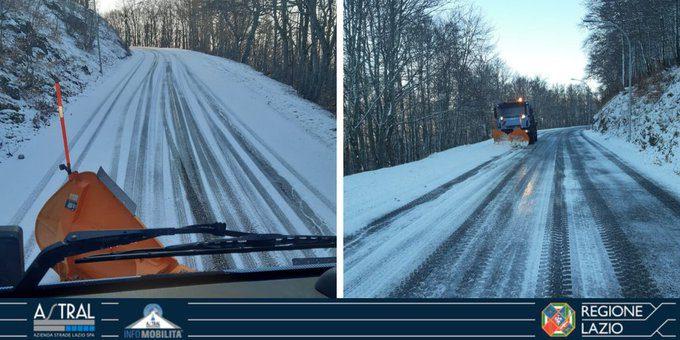 Lazio pioggia vento strade neve SR509 Forca d'Acero