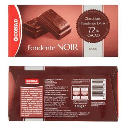 Frammenti di plastica dura, Conad richiama due lotti del suo cioccolato fondente