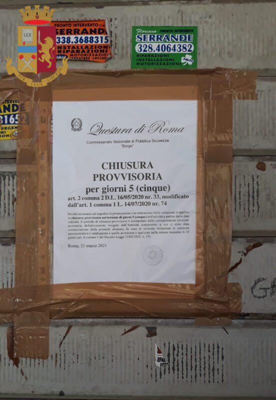 Roma, bar-ristorante aperto in pieno centro: 6 persone sorprese a bere e a mangiare in zona Borgo