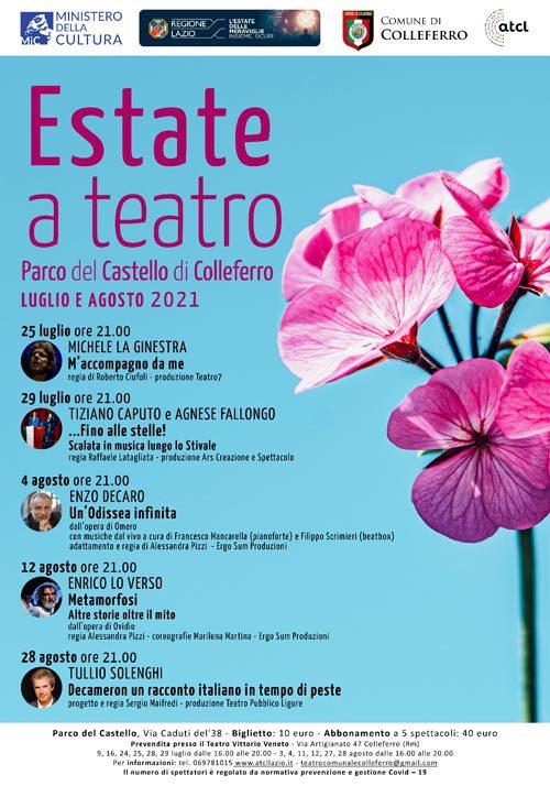 Castello di Colleferro, al via la stagione teatrale: cinque spettacoli con protagonisti grandi nomi del teatro italiano