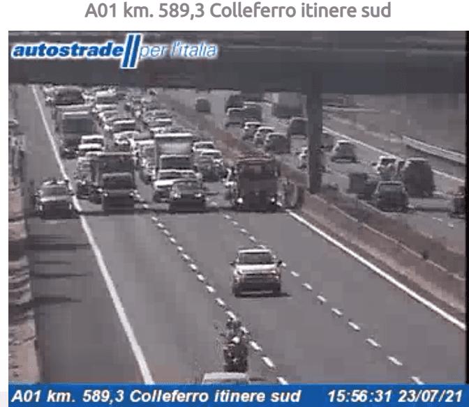 Incidente tra Valmontone e Colleferro autostrada A1 oggi 23 luglio 2021