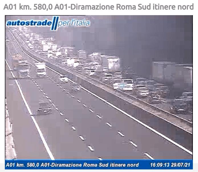 Incidente diramazione Roma Sud e Valmontone oggi 29 luglio 2021 autostrada A1